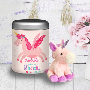 Personalised Magical Christmas Plush Unicorn Teddy & Tin