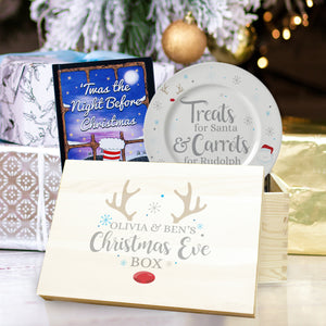 Personalised Christmas Eve Box, Book & Treats For Santa Plate Set