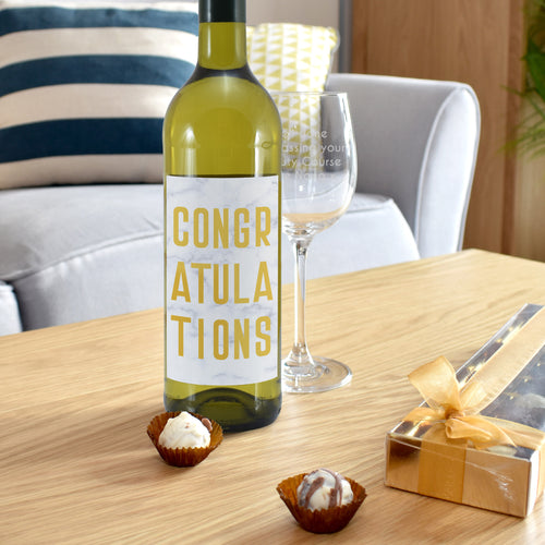 Personalised Congratulations Wine Glass & White Wine Gift Set