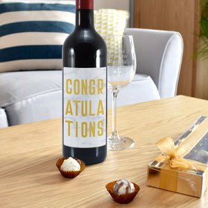 Personalised Congratulations Wine Glass & Red Wine Gift Set