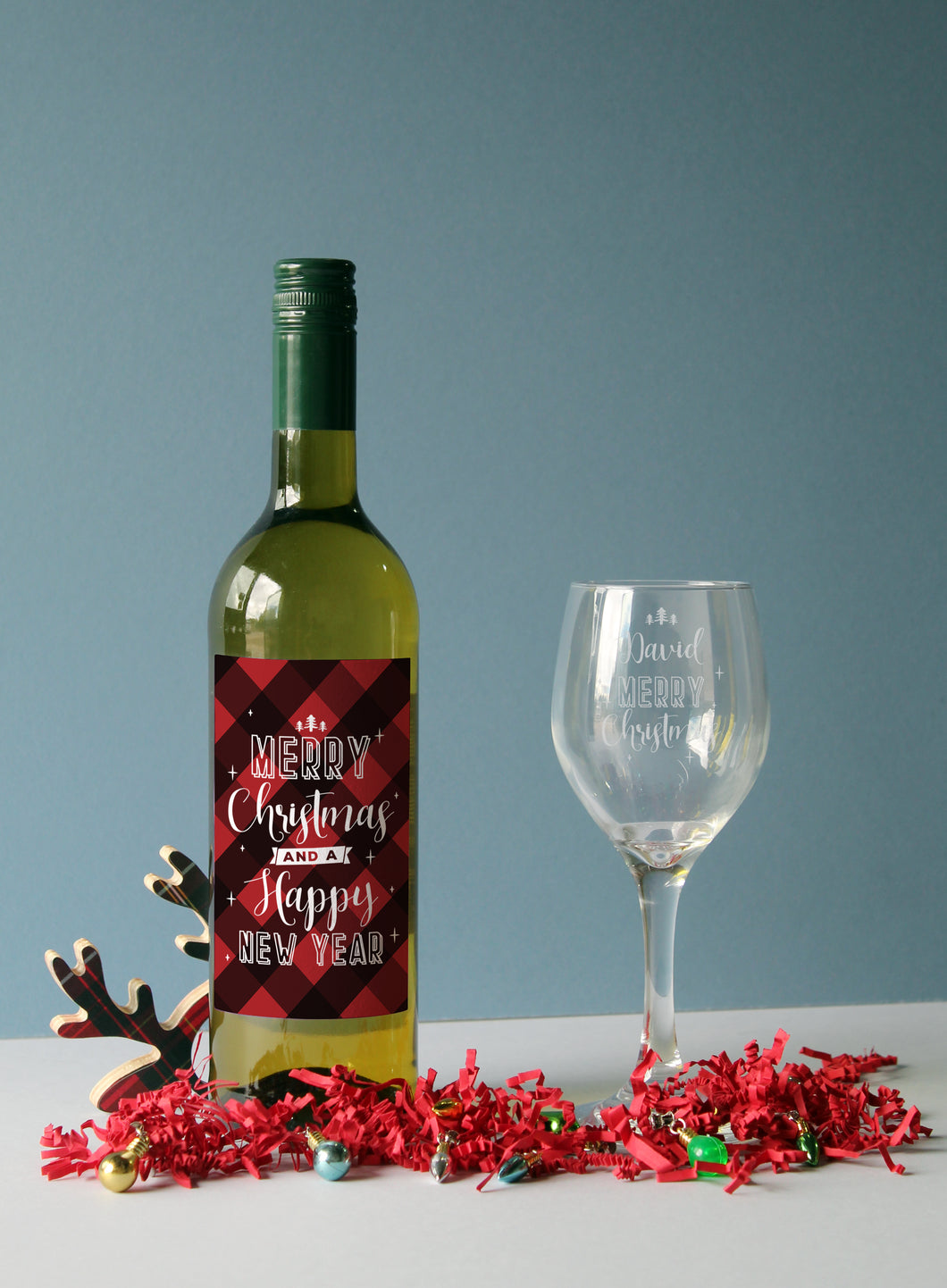 Personalised Merry Christmas White Wine & Wine Glass Gift Set