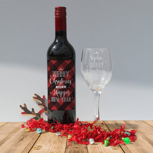 Personalised Merry Christmas Red Wine & Wine Glass Gift Set