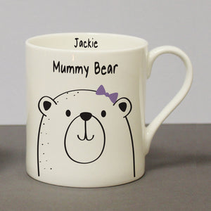 Personalised Mummy Bear Bone China Mug