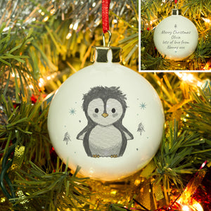 Personalised Penguin Bone China Christmas Tree Bauble