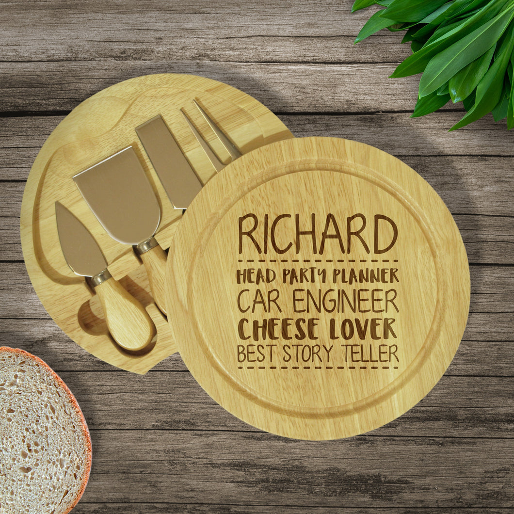 4 Things About.... Personalised Cheeseboard & Knives Set