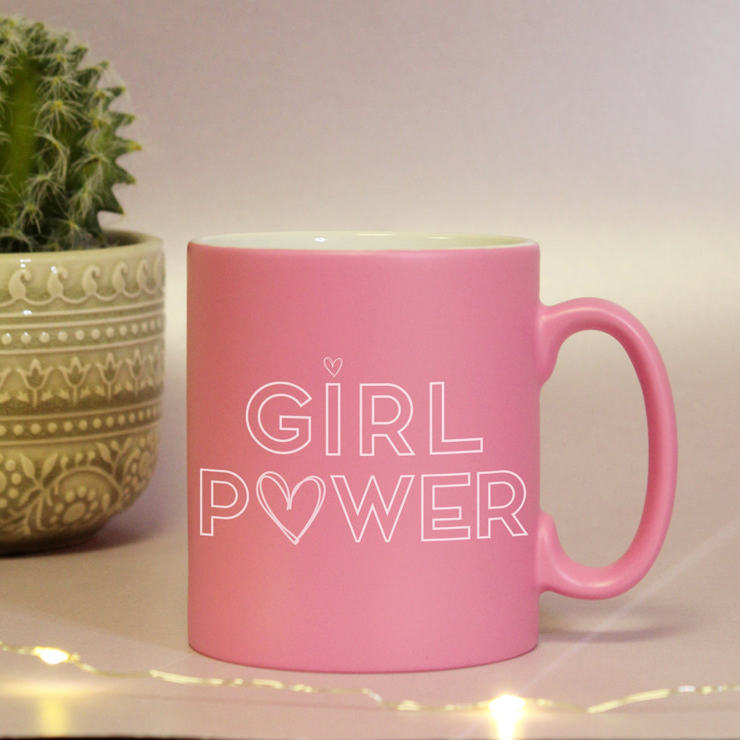 Girl Power Personalised Pink Satin Mug