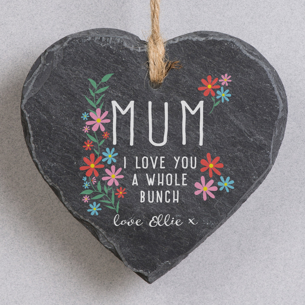 Personalised I Love You A Whole Bunch Hanging Slate Sign