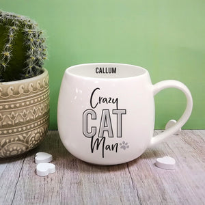 Crazy Cat Man Personalised Bone China Mug