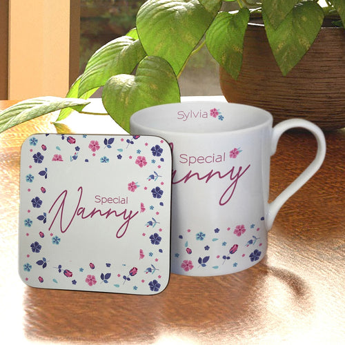 Special Nanny Personalised Bone China Balmoral Mug & Coaster Set