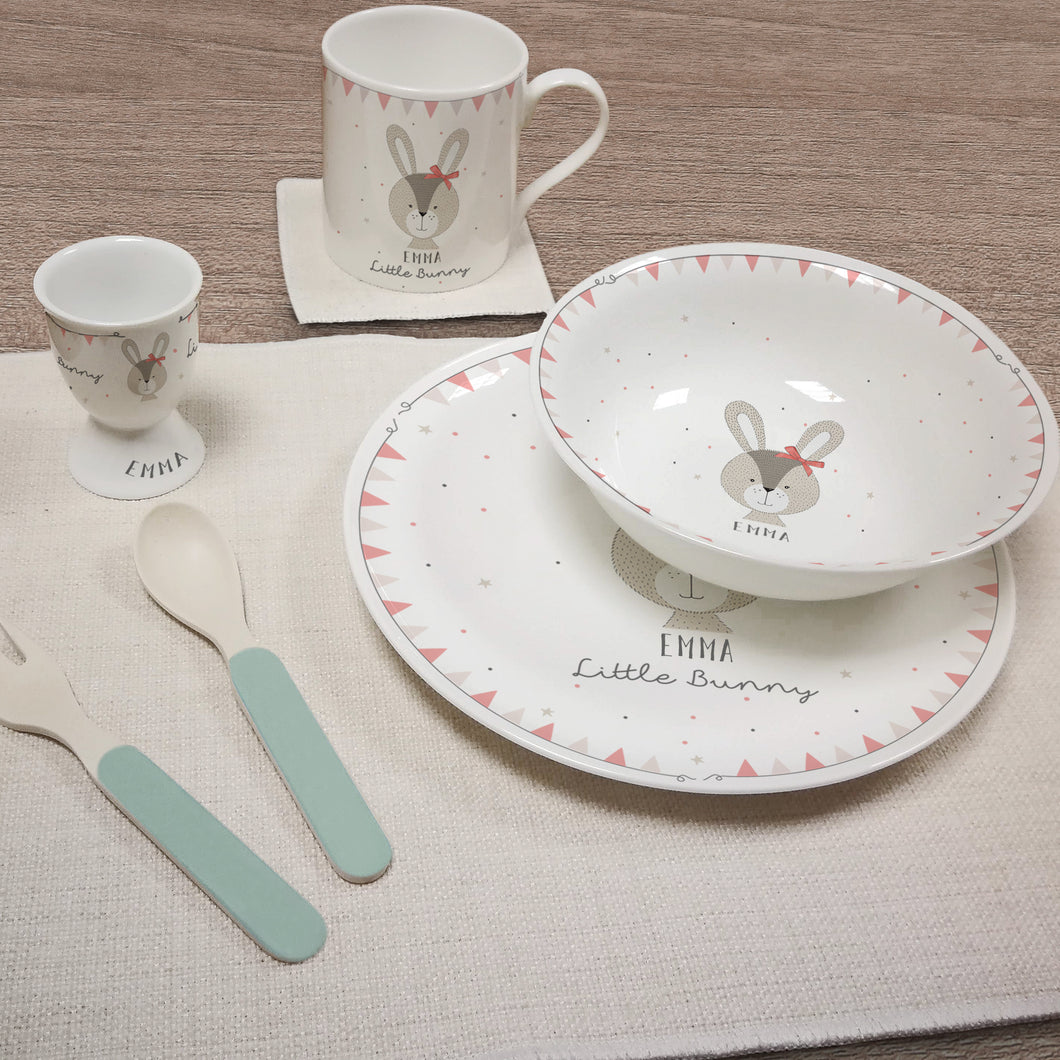 Personalised Little Bunny Pink Bone China Breakfast Set