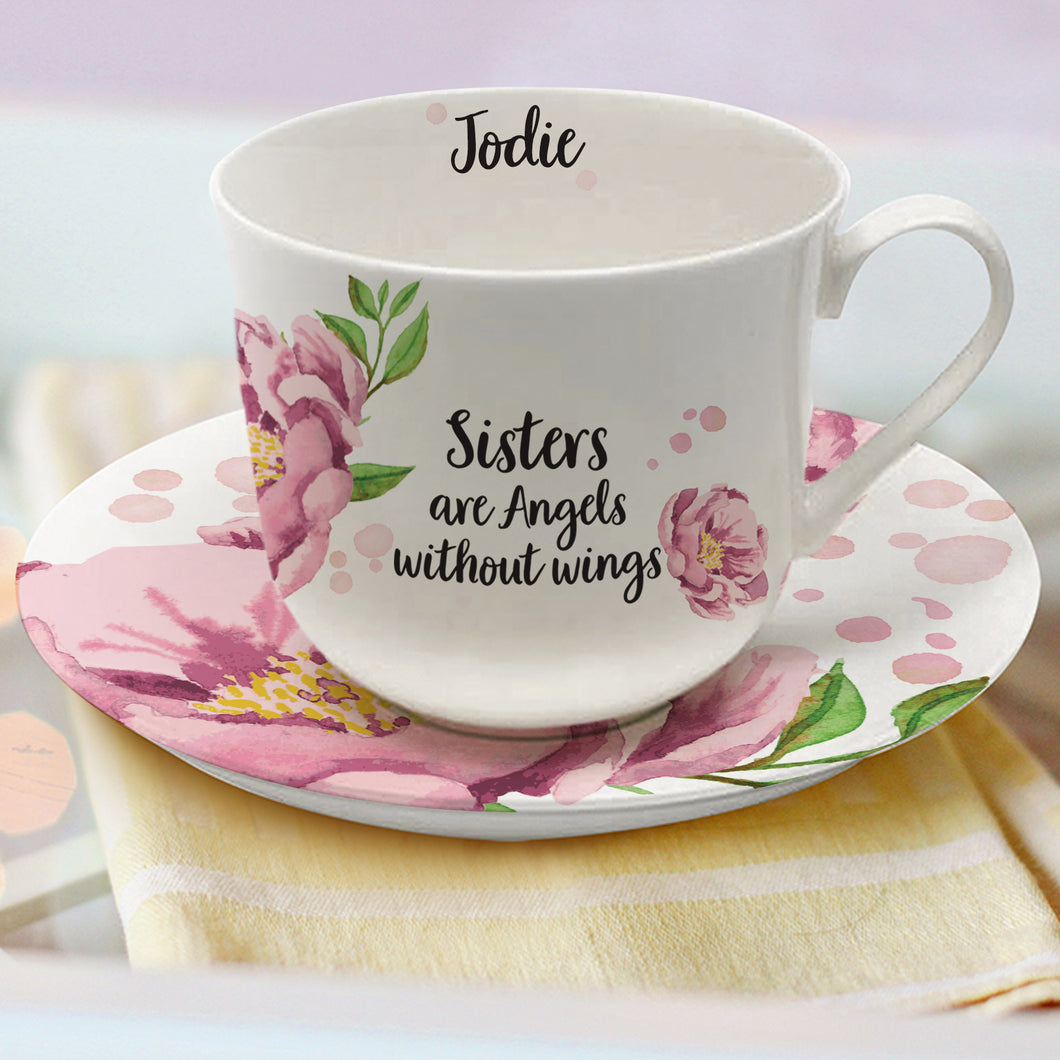 Personalised Angels Bone China Cup & Saucer - Any name / Title