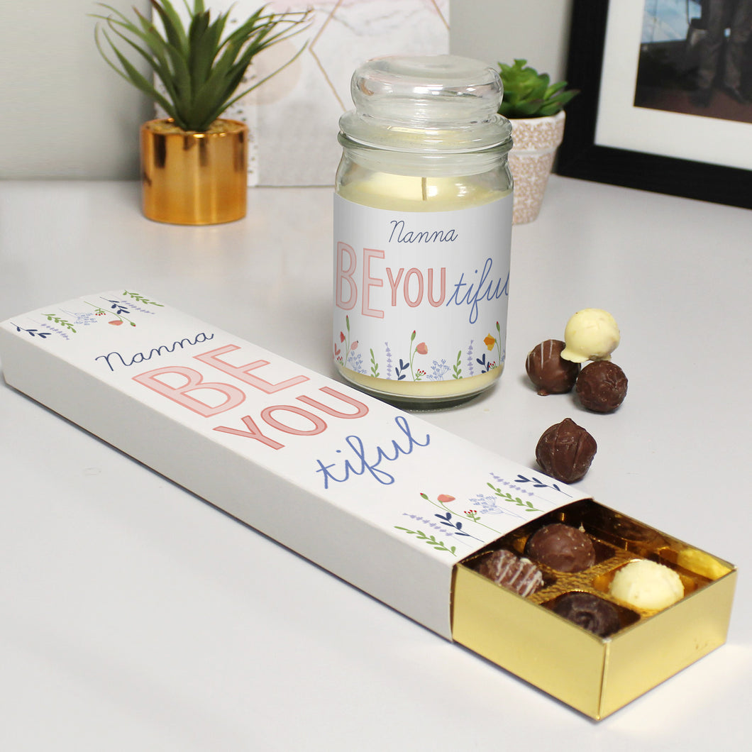 Personalised Be-you-tiful Scented Jar Candle & Chocolate Truffles Gift Set