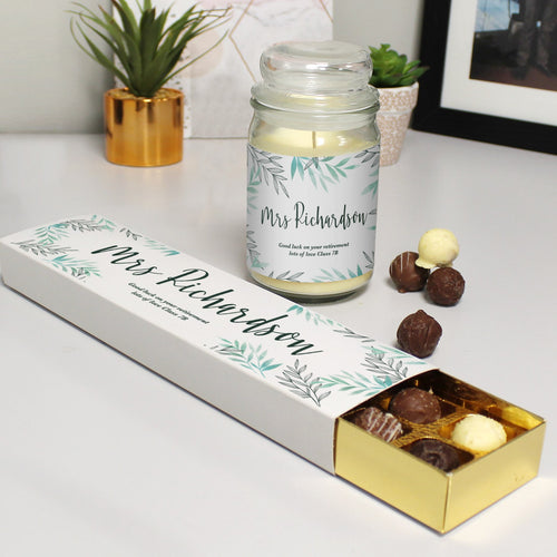 Personalised Scented Jar Candle & Chocolate Truffles Gift Set