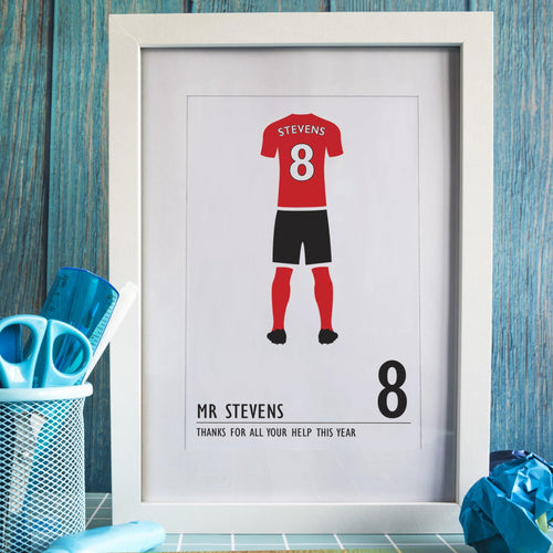Personalised Football Kit (Choice Of Colour) Framed Print