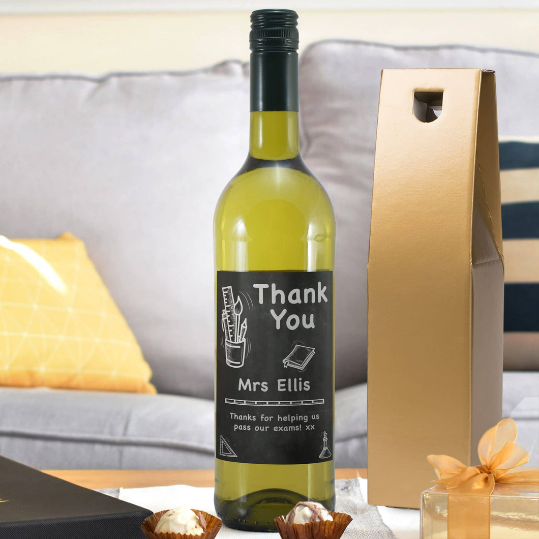 Personalised Teacher's Thank You White Wine