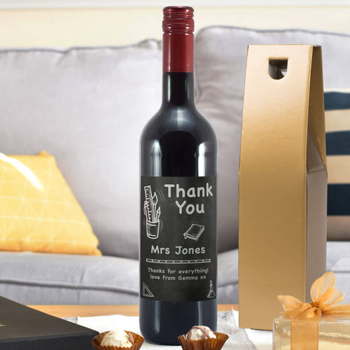 Personalised Teacher's Thank You Red Wine