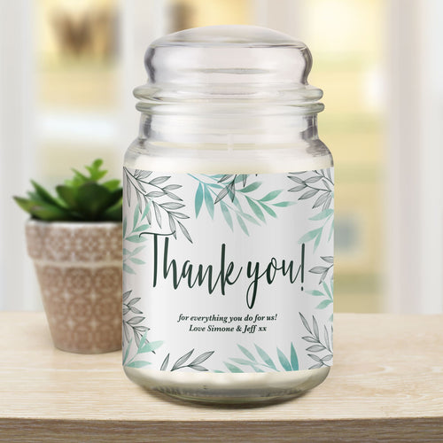 Personalised Thank You Scented Candle Jar