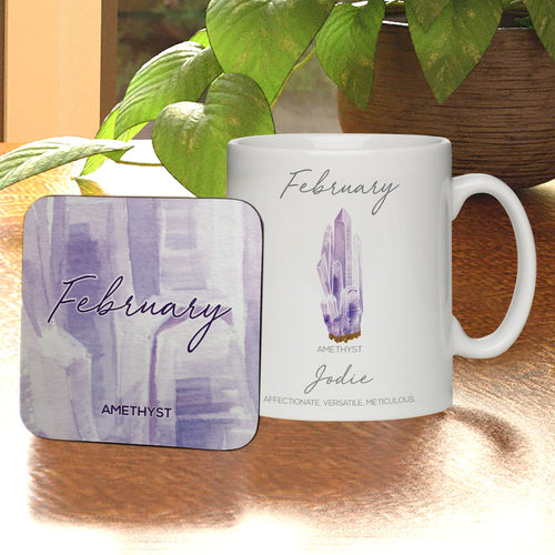 Personalised February Birthday Mug & Coaster Set