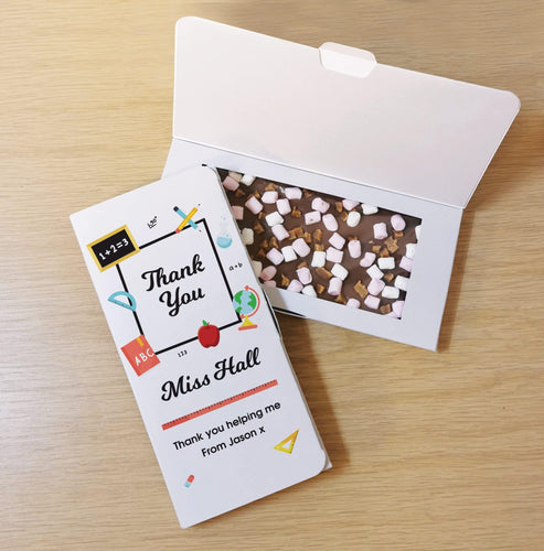 Personalised Thank You Teacher Rocky Road Milk Chocolate Card