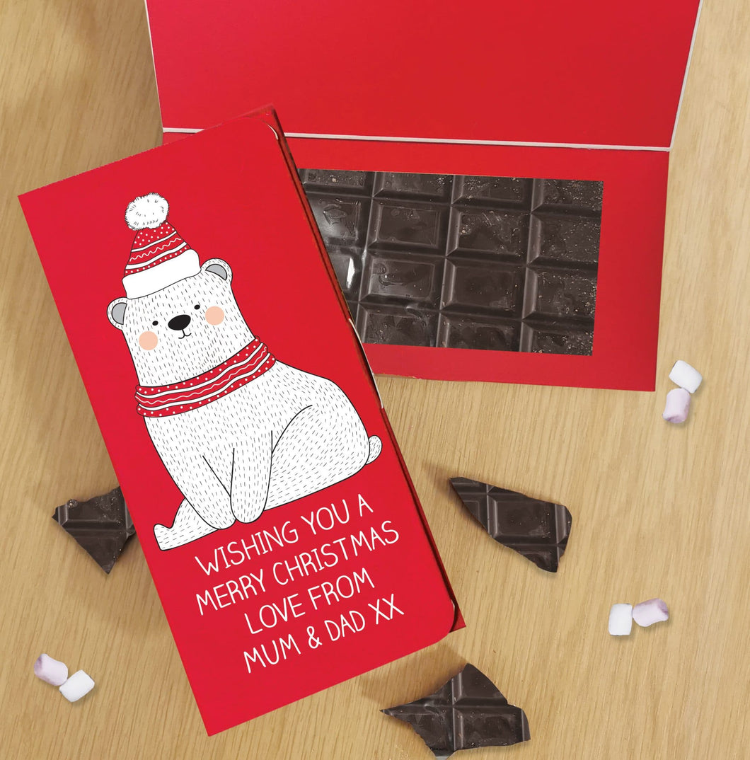 Personalised Polar Bear Design Vegan Dark Chocolate Card
