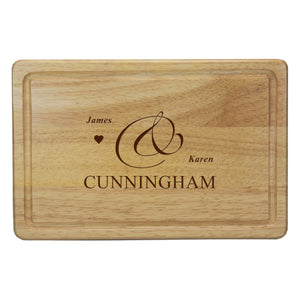 Personalised Couple's Names Rectangular Wooden Chopping Board