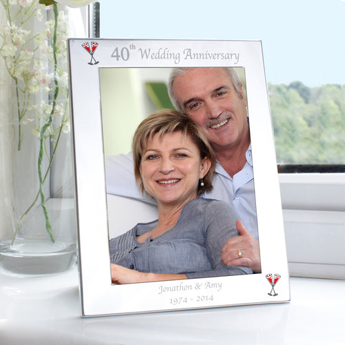Personalised 40th Wedding Anniversary Photo Frame