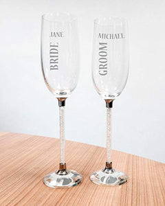 Personalised Crystal Stem Wedding Champagne Flutes