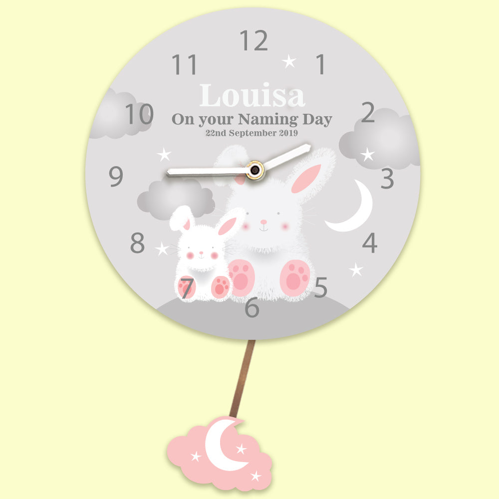 Personalised Any Occasion Baby Bunny Wall Clock Pink & Grey