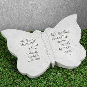 Personalised Butterflies Appear When Angels Are Near Memorial Stone