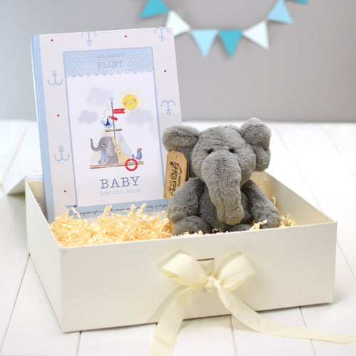 Personalised Baby Boy Baby Record Book & Plush Elephant