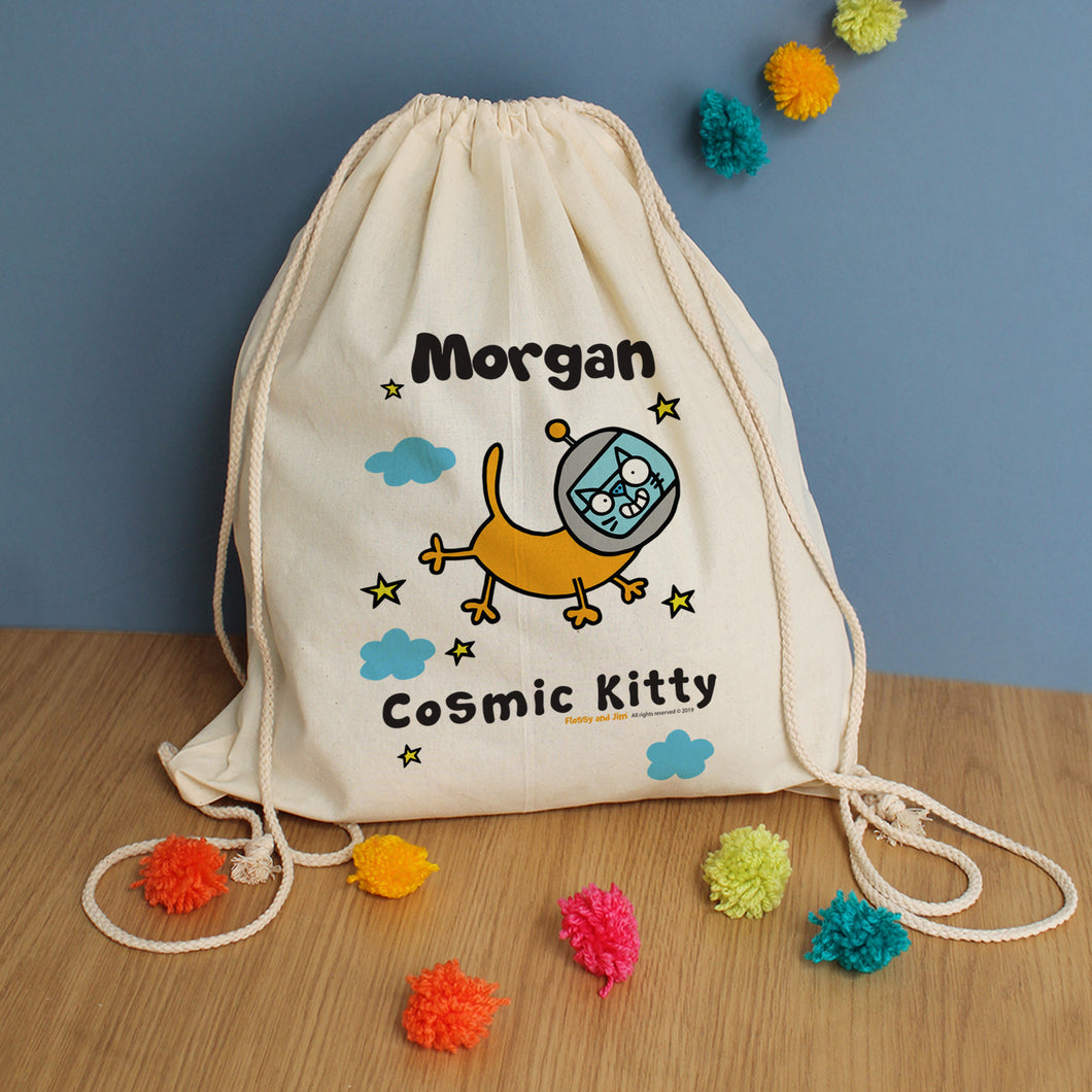 Personalised Cosmic Kitty Drawstring Bag