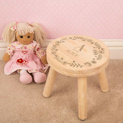 Personalised Floral Design Child's Wooden Stool