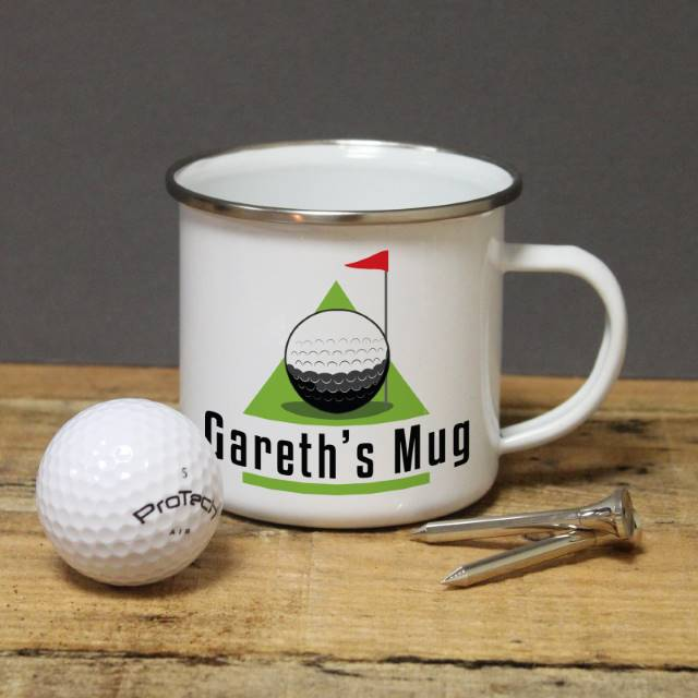 Personalised Golf Themed Enamel Mug