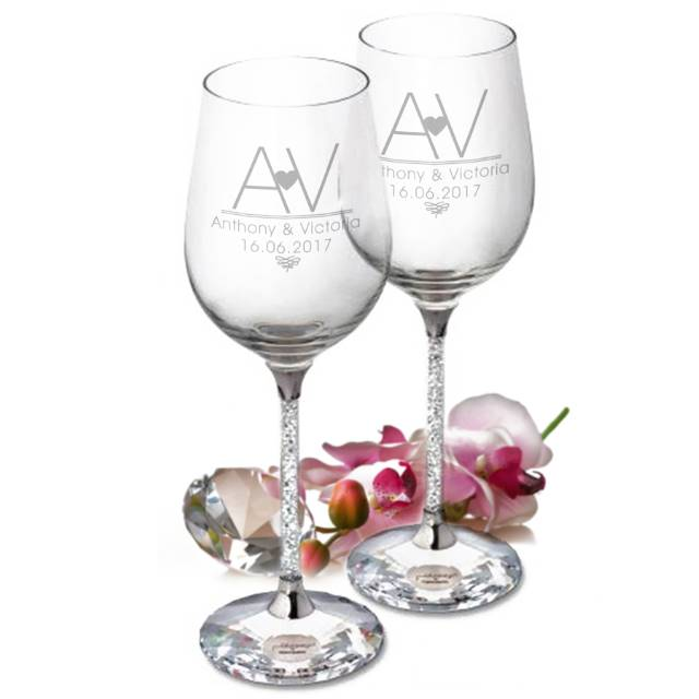 Personalised Crystal Stemmed Set Of 2 Wine Glasses