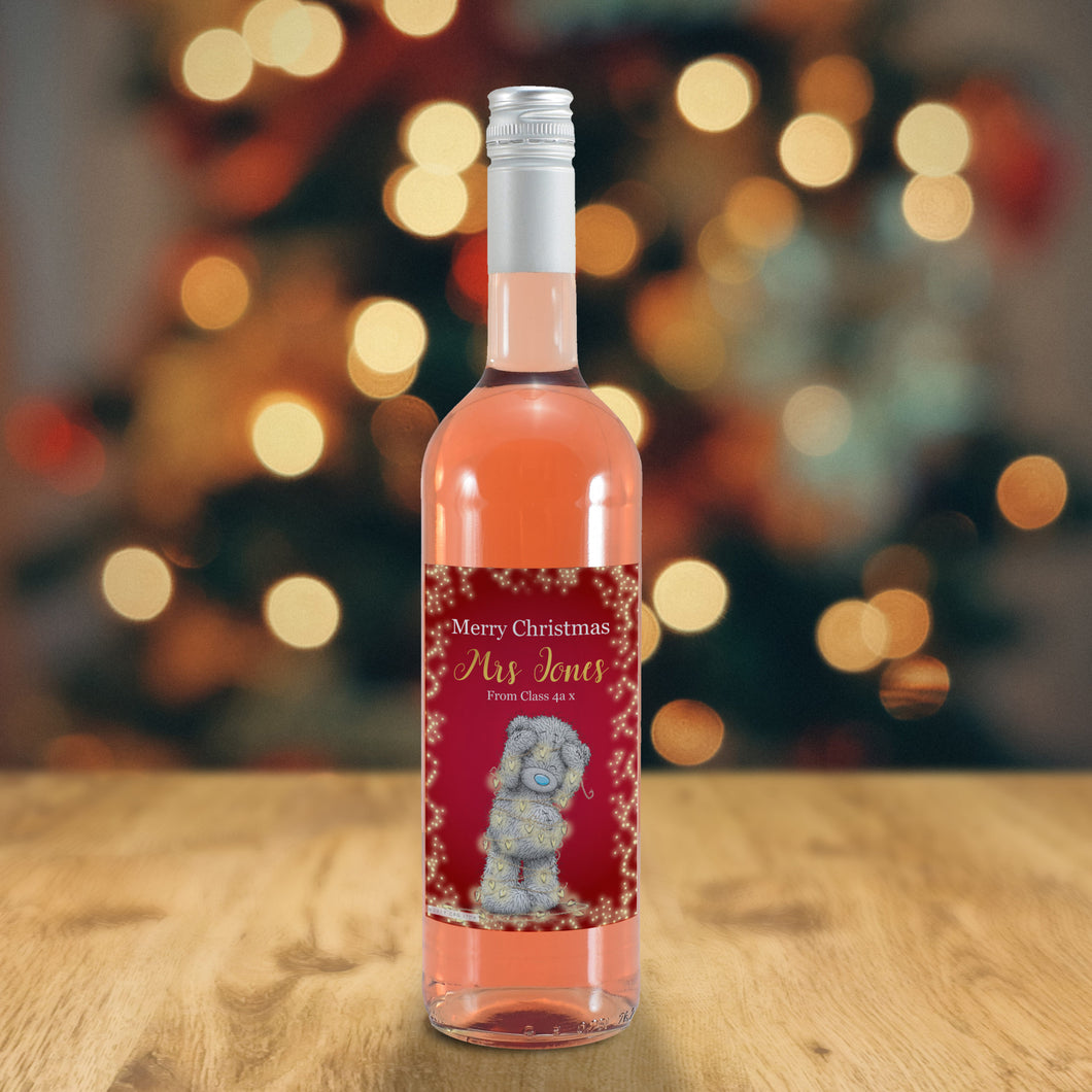 Personalised  Me To You Christmas Lights Design Rosé Wine