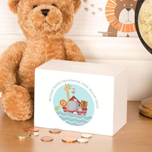 Personalised Noah's Ark Design Wooden Money Box