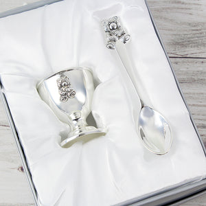 Personalised Silver Plated Egg Cup & Spoon