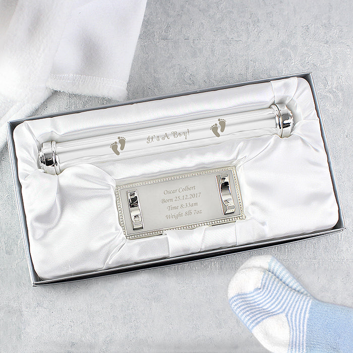 Personalised Its A Boy Silver Plated Birth Certificate Holder