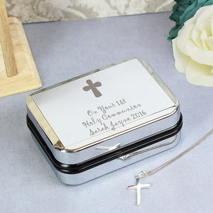 Sterling Silver Cross Necklace & Personalised Gift Box
