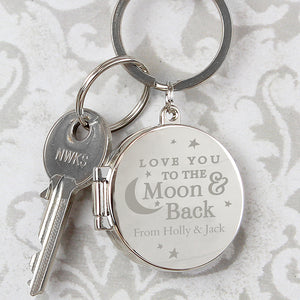 Personalised Love You To The Moon & Back Photo Locket Keyring