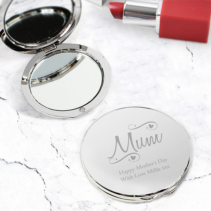Personalised Mum Swirls & Hearts Compact Mirror