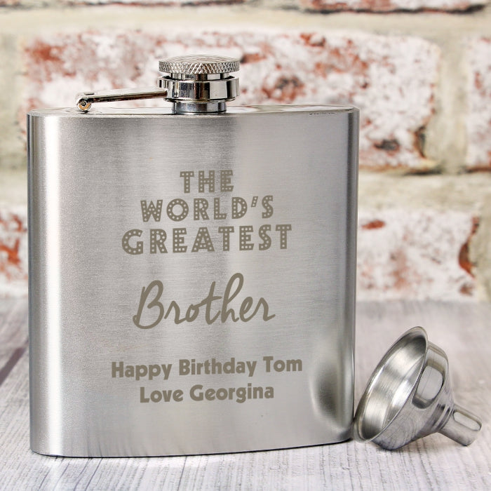 Personalised 'The World's Greatest Brother' Hip Flask