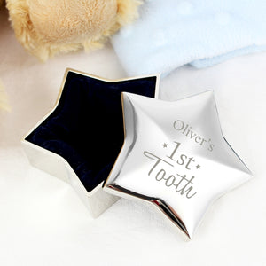 Personalised Baby's 1st Tooth Star Shaped Trinket Box