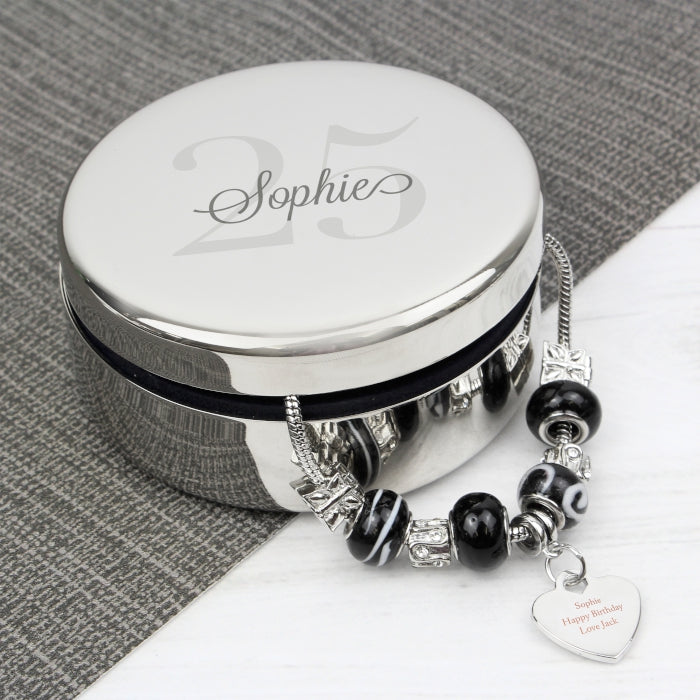Personalised Any Age Round Trinket Box & Galaxy Heart Charm Bracelet