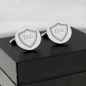 Personalised Shield Design Round Cufflinks In Gift Box