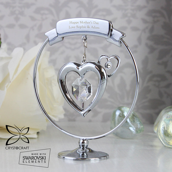 Personalised Crystocraft Silver Plated Crystal Heart Ornament