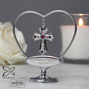 Personalised Silver Plated Crystocraft Cross & Heart Ornament