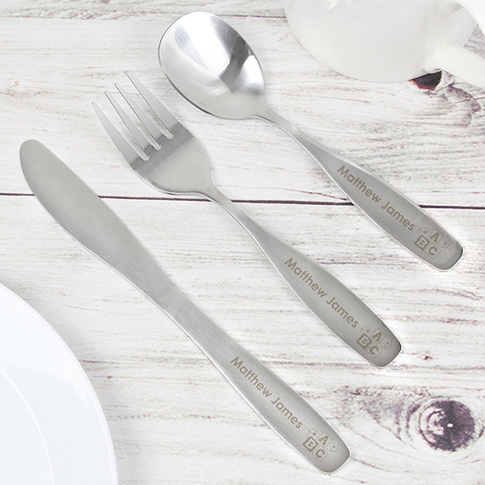 Personalised 3 Piece ABC Child's Cutlery Set