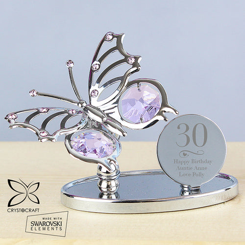 Personalised Swirls & Hearts Birthday Crystocraft Silver Plated Butterfly