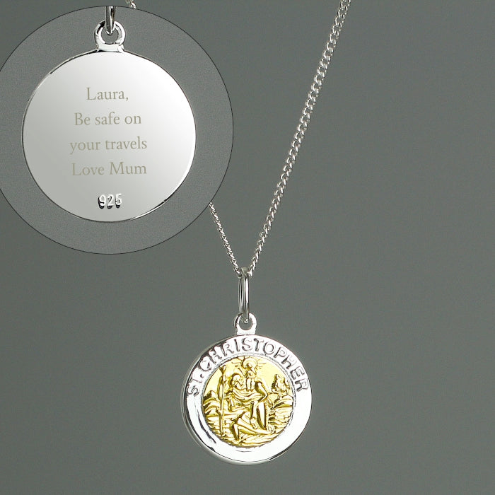 Personalised Sterling Silver and Gold Plated St. Christopher Necklace.